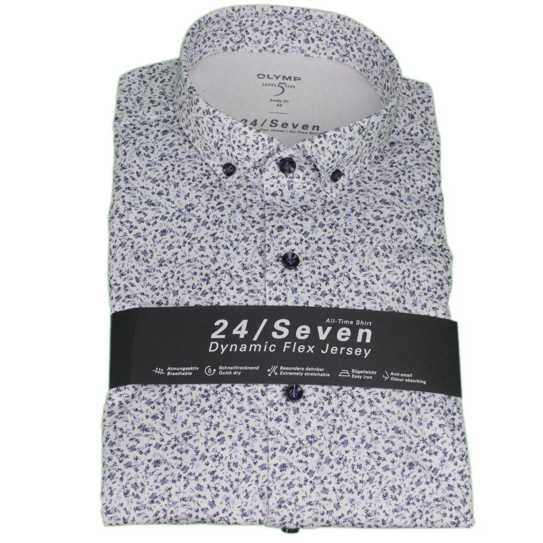 Olymp Hemd 24/Seven Dynamic Flex Jersey All Time Shirt blau Blumen 206074 11