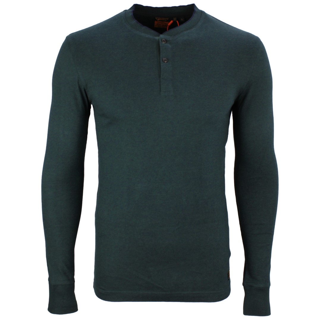 Superdry Herren langarm Shirt LS Henley grün unifarben M6010118A 3ZJ Enamel Green