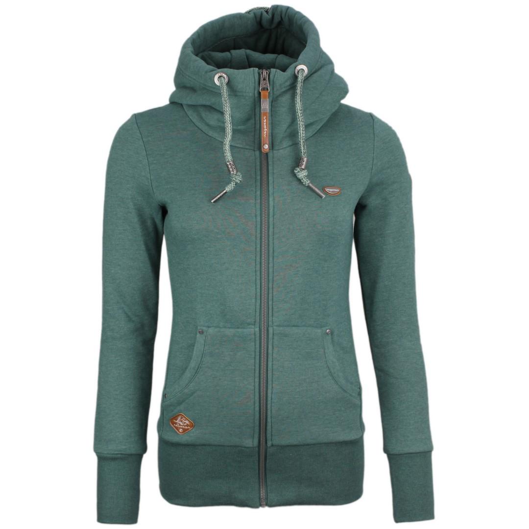Ragwear Damen Sweat Jacke grün unifarben Neska Zip 2111 30036 5021 dark green