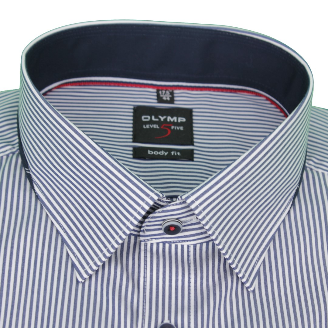 Olymp Herren Body Fit Hemd Level 5 blau weiß gestreift 2096 34 18