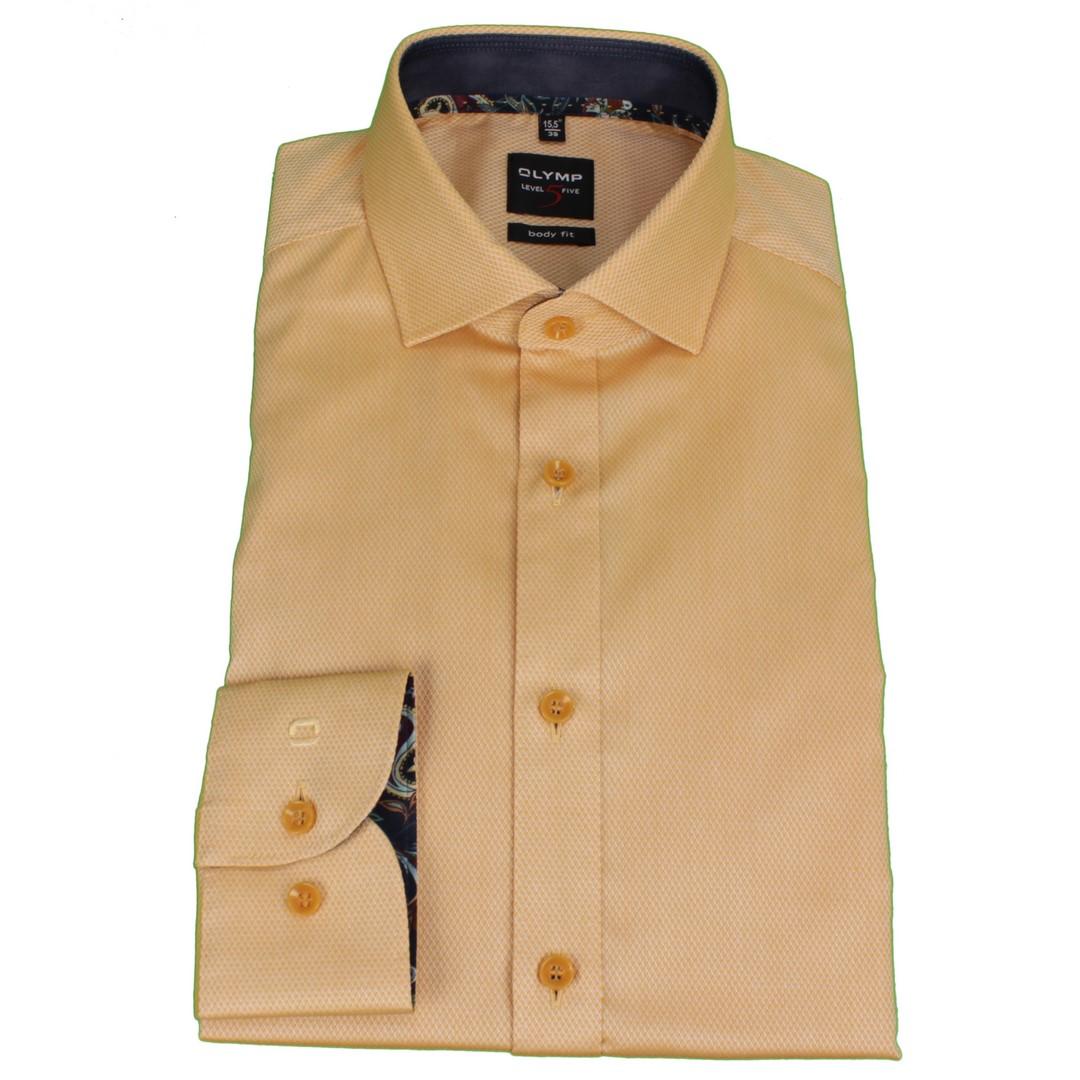 Olymp Herren Body Fit Hemd Level 5 gelb strukturiert 202864 53