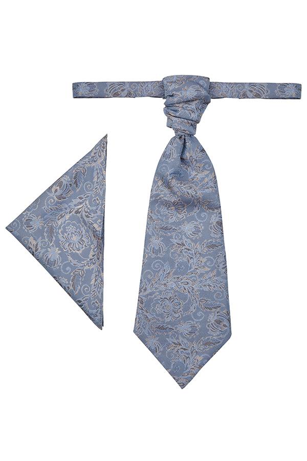 Wilvorst Plastron Einstecktuch Set After Six blau gemustert 417117 0622 038