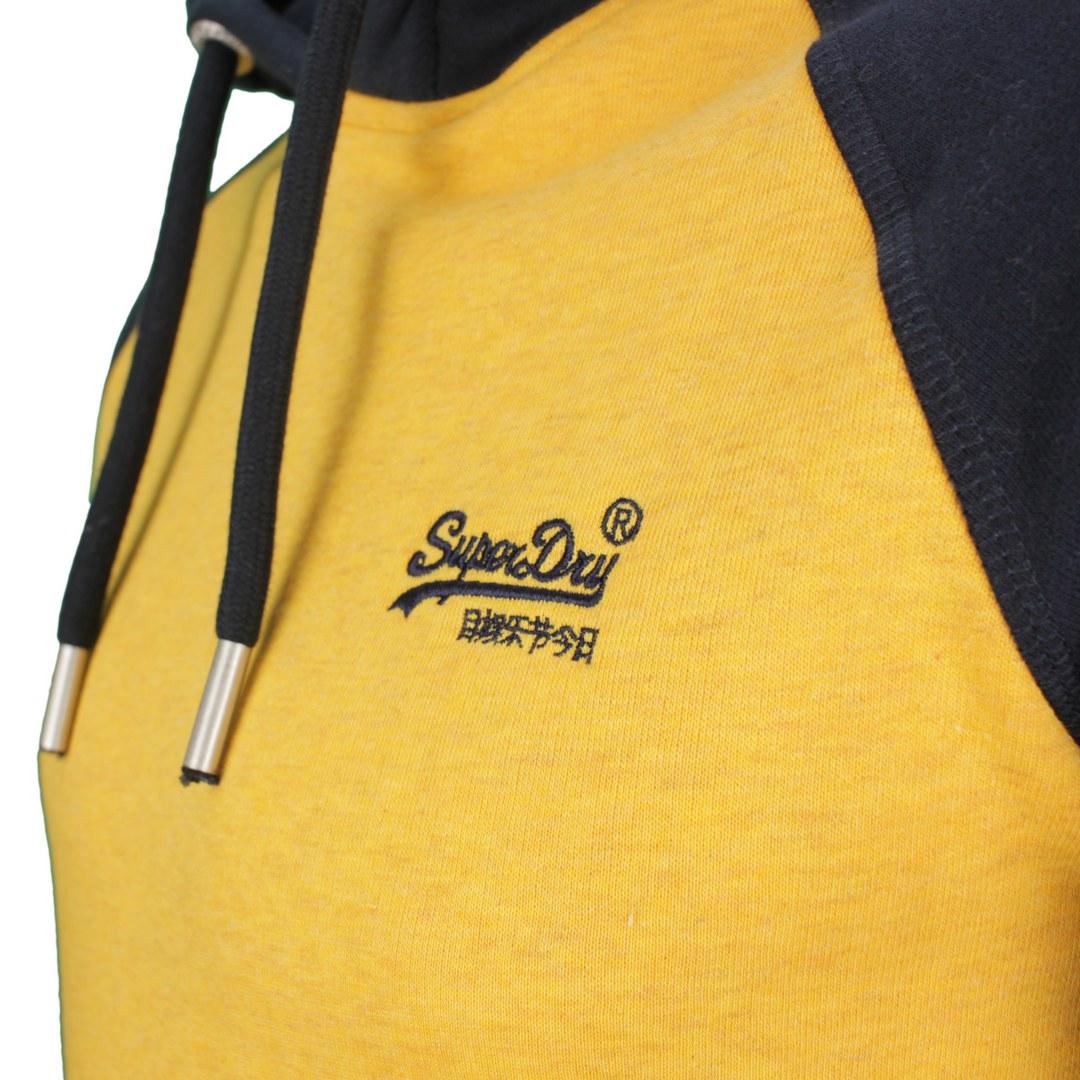 Superdry Sweat Pullover Hoodie M2011398A 6IS Tumeric Marl Eclipse Navy Vintage Logo EMB Baseball Hoo
