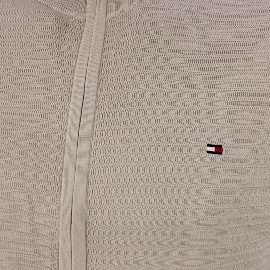 Tommy Hilfiger Strick Jacke Fine Zip Zag Structure Zip Thru beige MW0MW17347 AF1