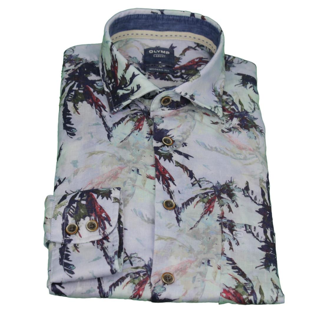 Olymp Casual Herren Freizeit Leinen Hemd Modern Fit blau Palmen Print 4096 54 45
