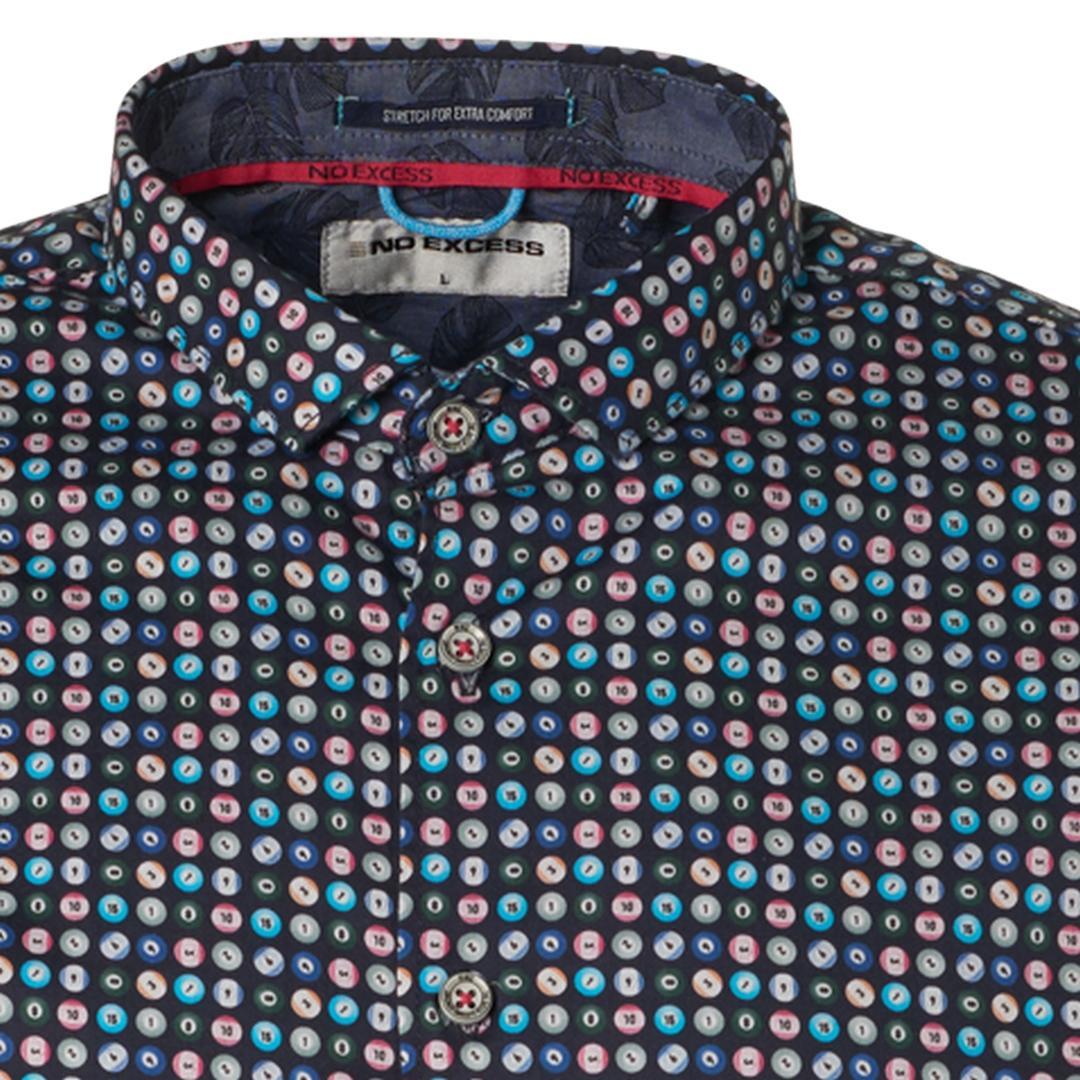 No Excess Freizeit kurzarm Hemd blau gemustert 96490511 078