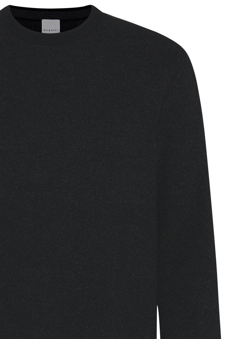 Bugatti Herren Strick Pullover schwarz unifarben 85523 7400 290