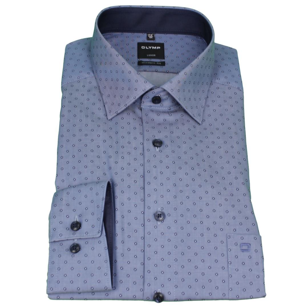 Olymp Modern Fit Hemd blau Minimal Muster 1219 44 13