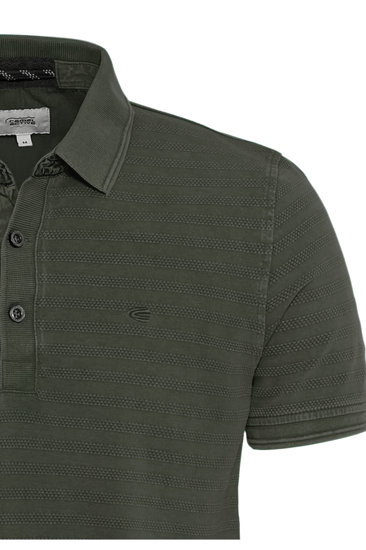 Camel active Herren Polo Shirt Olive grün gestreift 5P11409464 35
