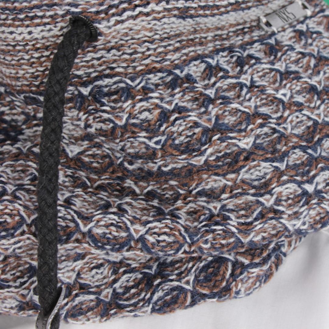 No Excess Strick Schal Loop Strick blau braun weiß meliert 87950906 040