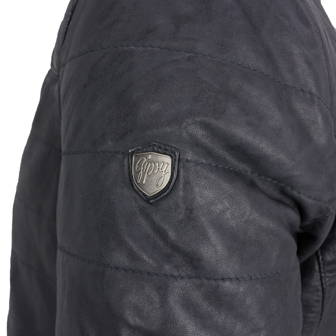 Gipsy Lederjacke Biker blau unifarben GMComrie Lacev W denim blue Men Short Jacket Lamb Clona Veg