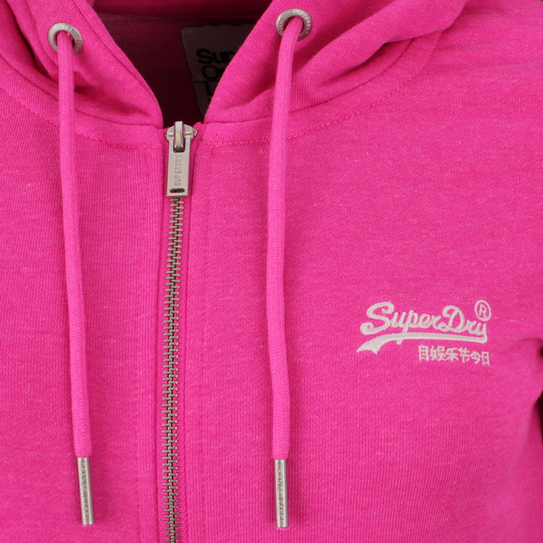 Superdry Damen Sweat Jacke Orange Label Loopback Zip Hoodie pink W2010130A 28R