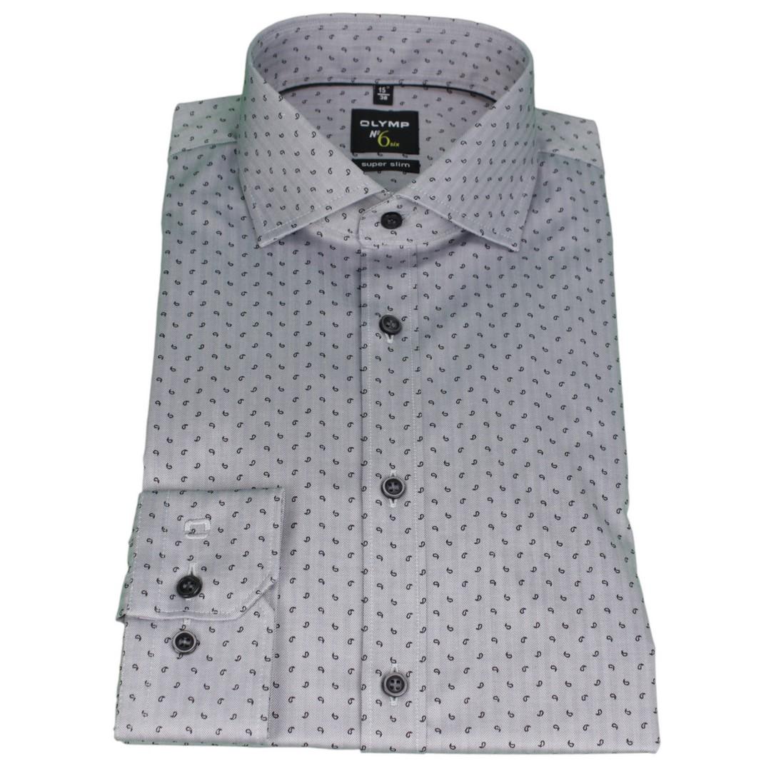 Olymp Herren Super Slim Hemd No. 6 grau Minimal Muster 2532 44 68