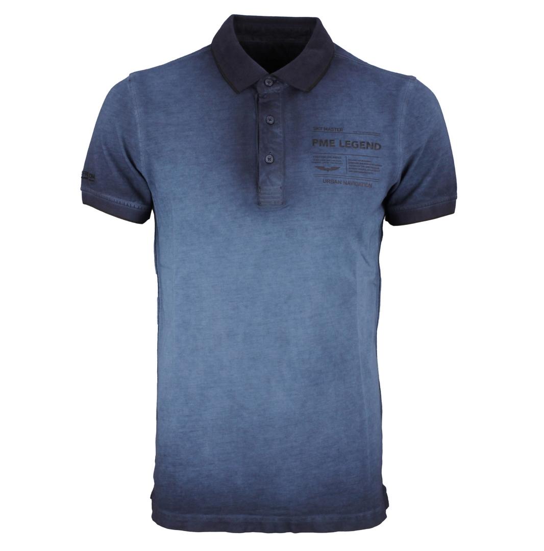 PME Legend Polo Shirt Light Pique Cold Dye dunkel blau unifarben PPSS212861 5073