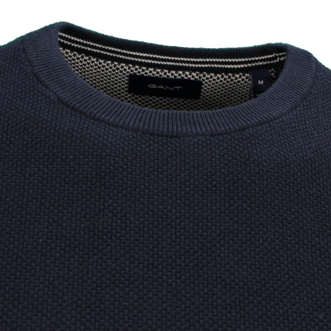 Gant Strick Pullover Cotton Pique dunkel blau unifarben 8030521 433 evening blue