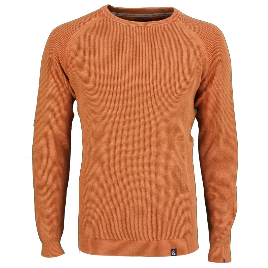 Colours & Sons Herren Strickpullover Pullover Orange Unifarben 9221 101 185 Cinnamon