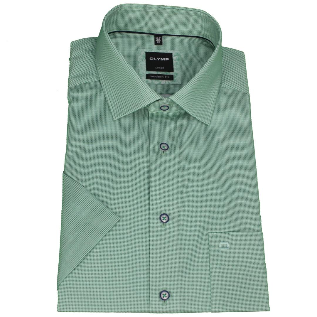 Olymp Modern Fit Kurzarm Hemd grün Minimal Muster 120972 45