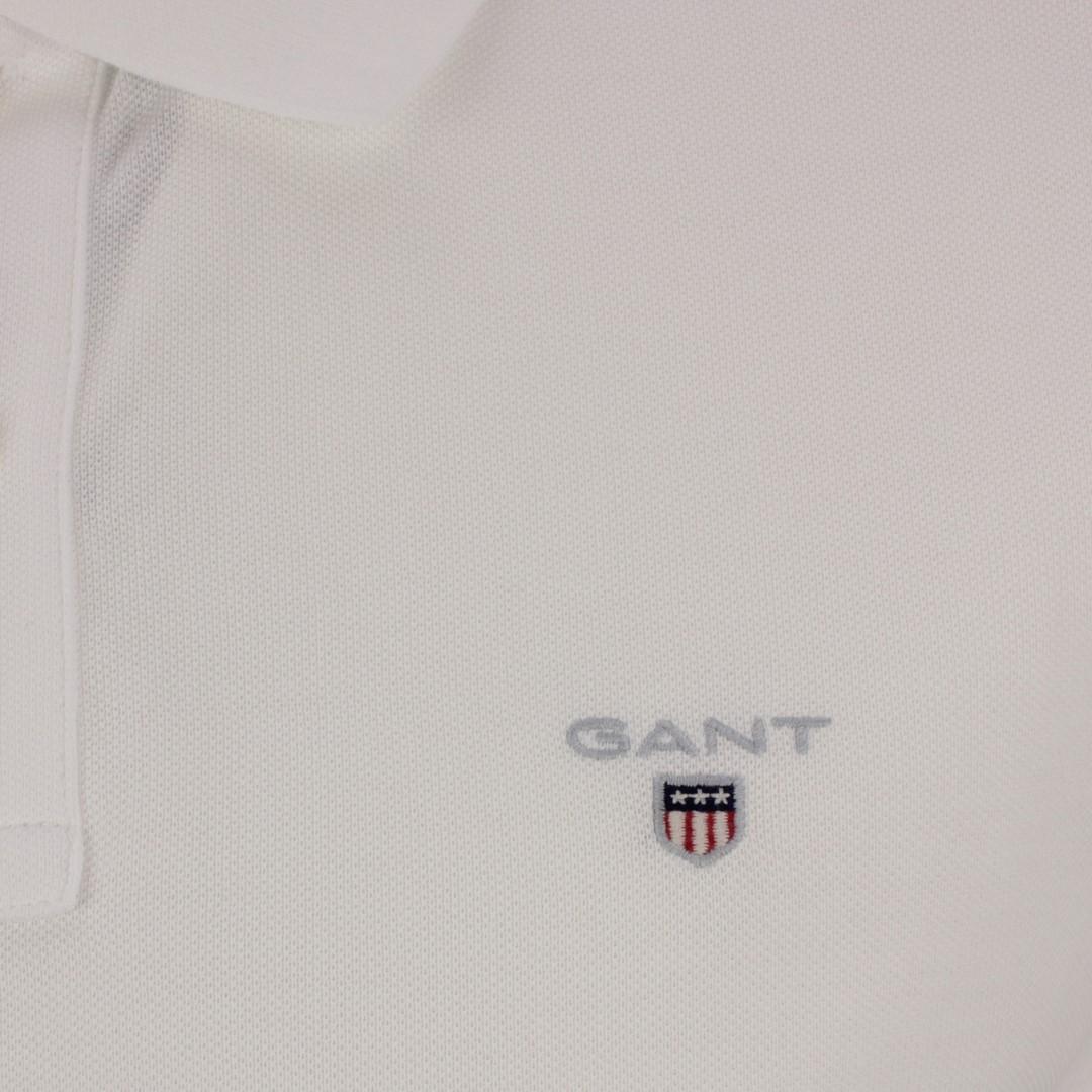 Gant Herren Polo Shirt Original Pique Rugger weiß unifarben 2201 110 white