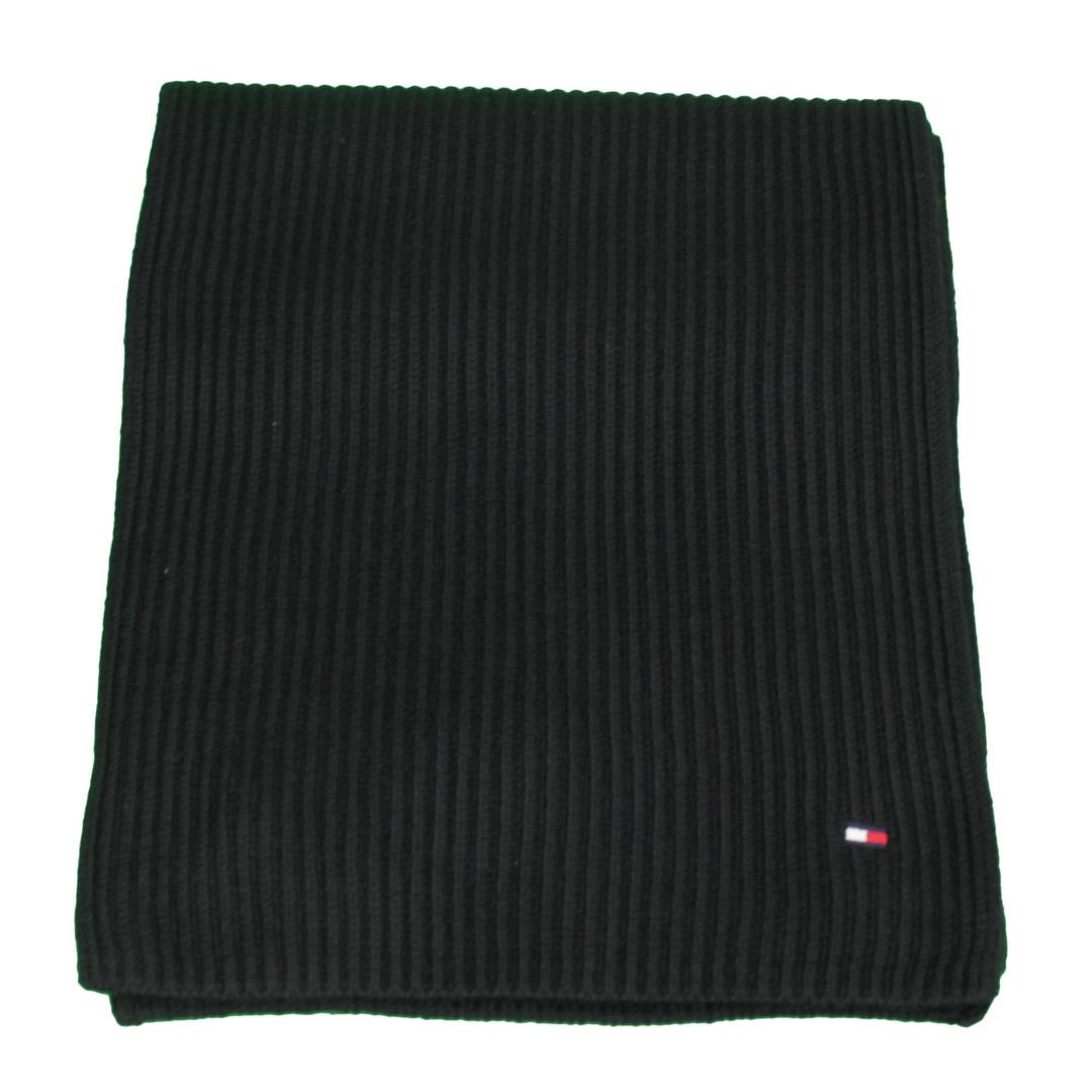 Tommy Hilfiger Herren Strick Schal schwarz strukturiert unifarben AM0AM06546 BDS Black Pima Cotton S