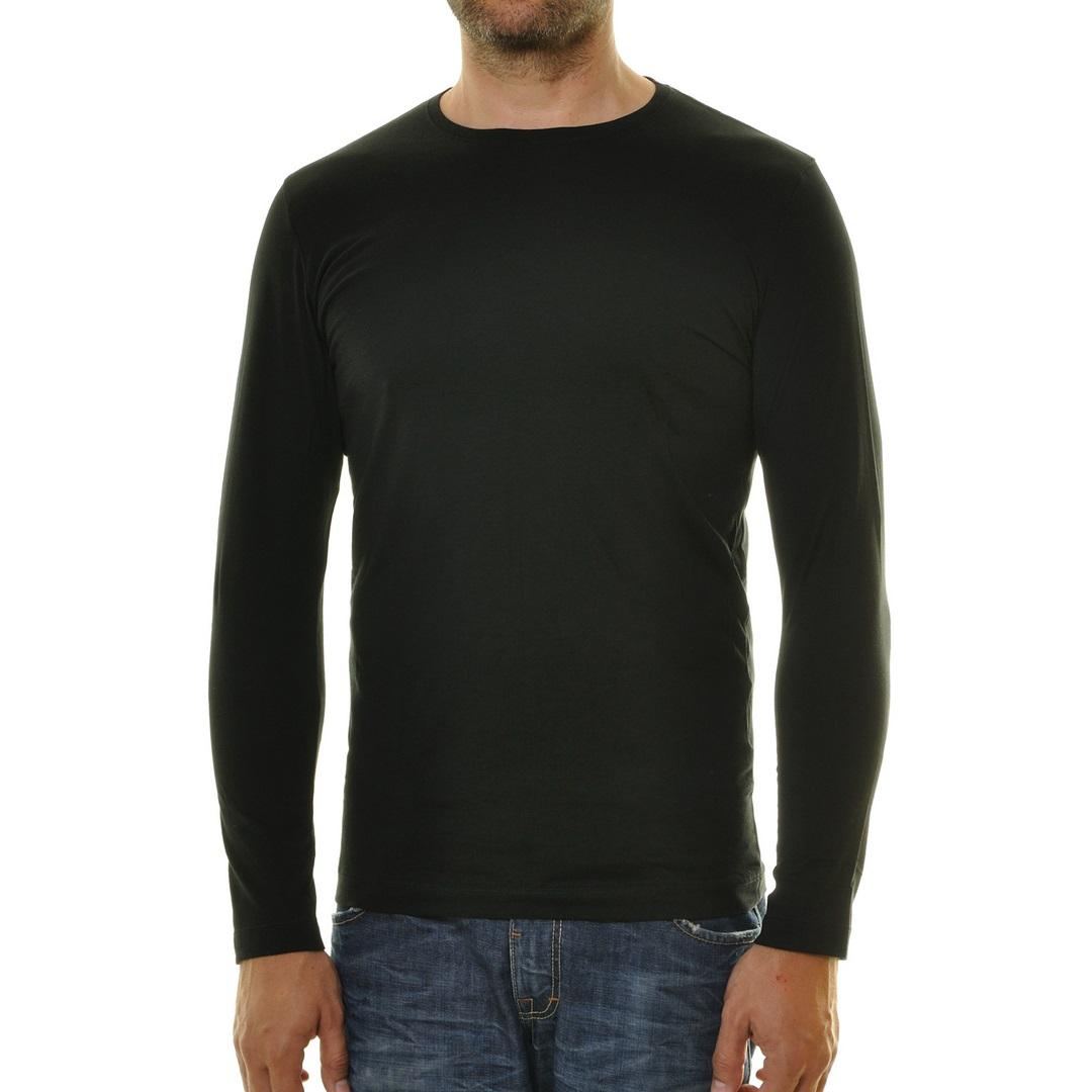 Ragman Herren Langarm Shirt Langarmshirt rundhals schwarz unifarben 482180 009