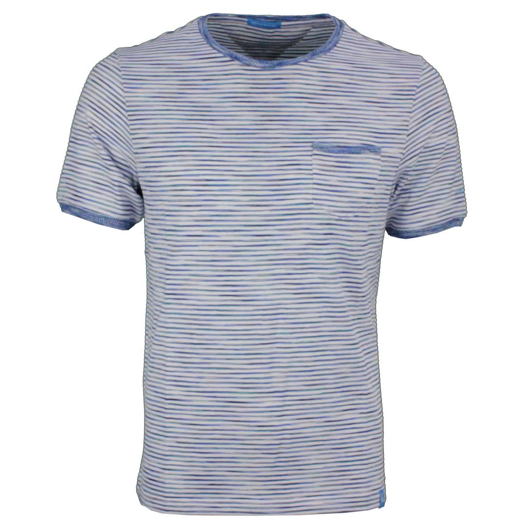 Colours & Sons Herren T-Shirt Shirt kurzarm Combo 3 blau gestreift 9121 490 903