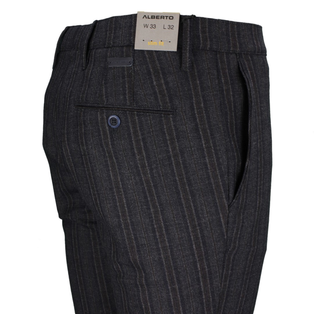 Alberto Herren Chino Hose Slim Fit blau gestreift 62861246 048