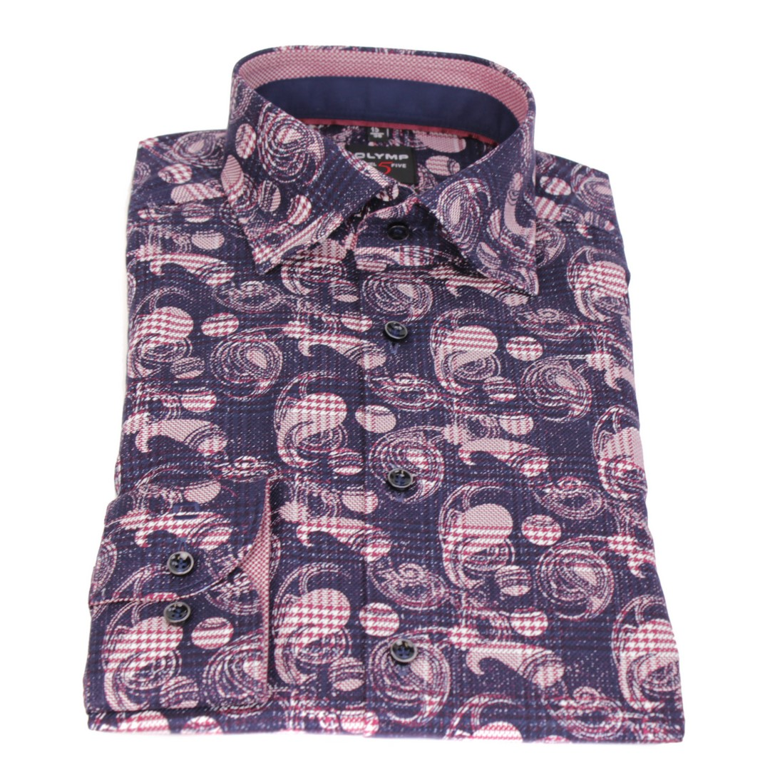 Olymp Herren Body Fit Hemd Level 5 blau rosa gemustert 2031 24 38