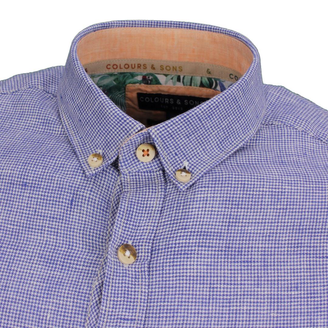 Colours & Sons Herren Freizeit Leinen Hemd blau Hahnentritt 9121 220 225 midnight