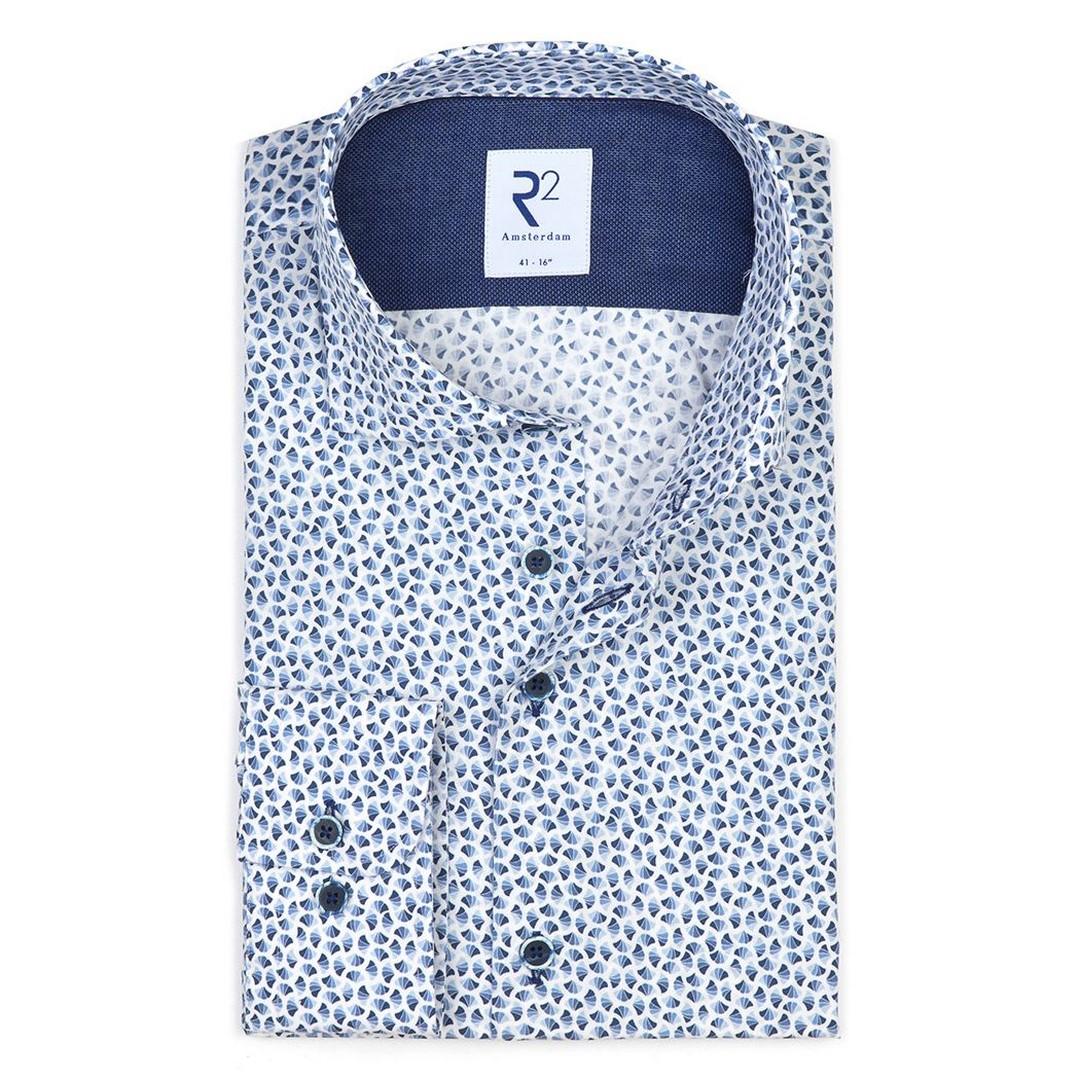 R2 Amsterdam Herren Hemd Widespread blau gemustert 112.WSP.072 014 blue grey