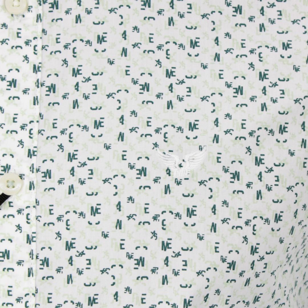 PME Legend Freizeit Hemd grün weiß Minimal Muster PSI191202 7003