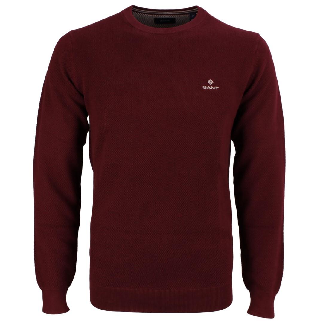Gant Strick Pullover Cotton Pique Bordeaux rot unifarben 8030521 605 Port red