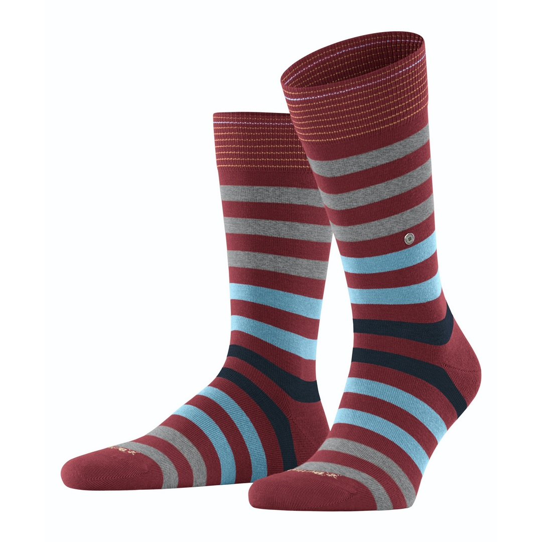 Falke Socken mehrfarbig gestreift Burlington Blackpool 21023 8830 ruby
