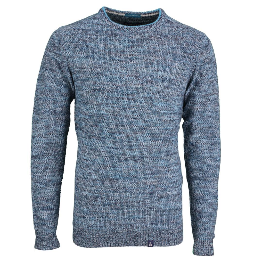 Colours & Sons Herren Strick Pullover Strickpullover Langarm blau meliert 9121 131 912