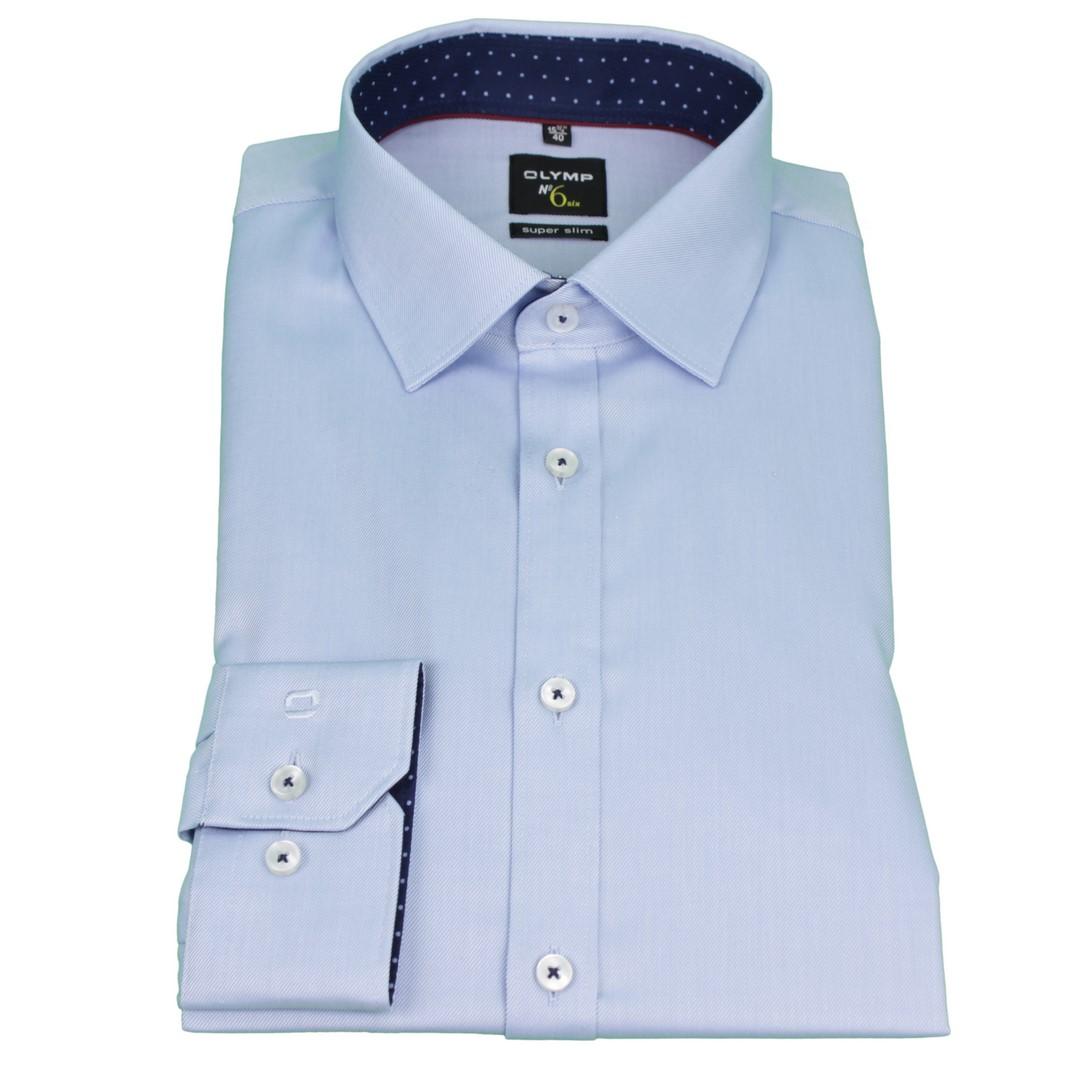 Olymp Herren Super Slim Hemd No. 6 blau Unifarben 4887 16 11