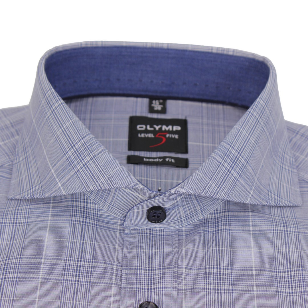 Olymp Herren Body Fit Hemd Level 5 blau weiß kariert 2059 24 18