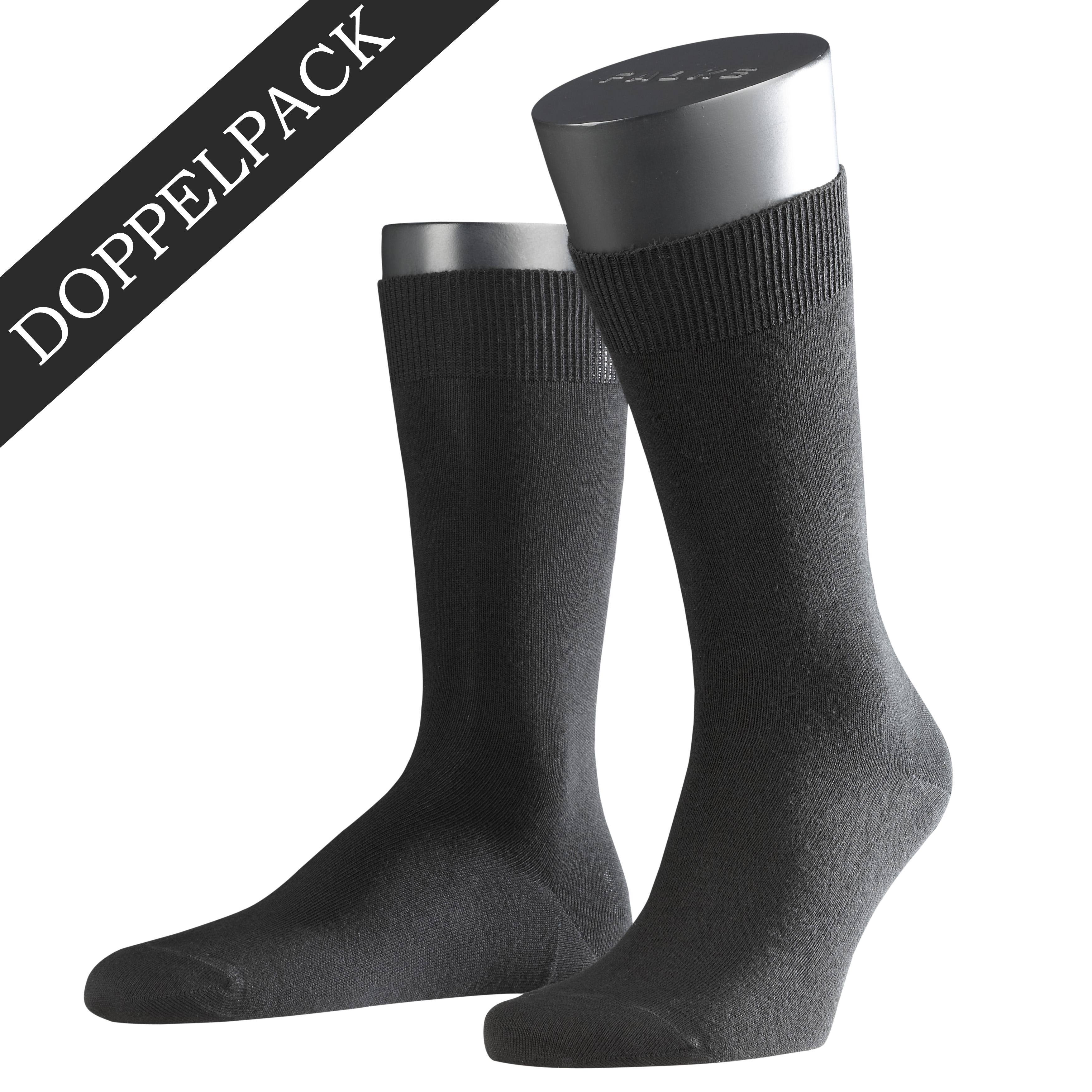 Falke Doppelpack Socke Swing schwarz 14633 - 3000 Basic Baumwolle