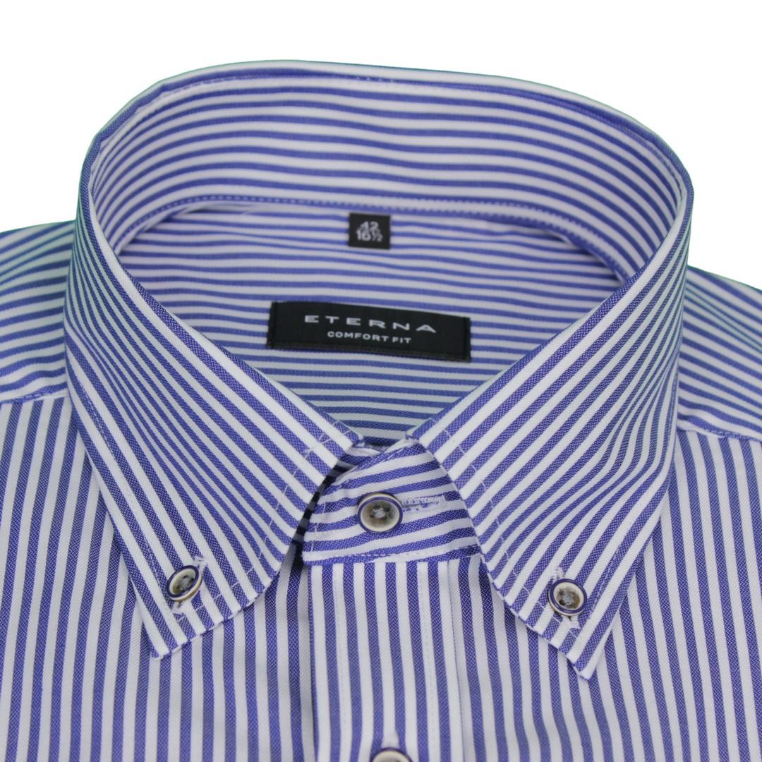 Eterna Halb Arm 1/2 Kurzarm Hemd Comfort Fit blau weiß gestreift 3884 K194 16