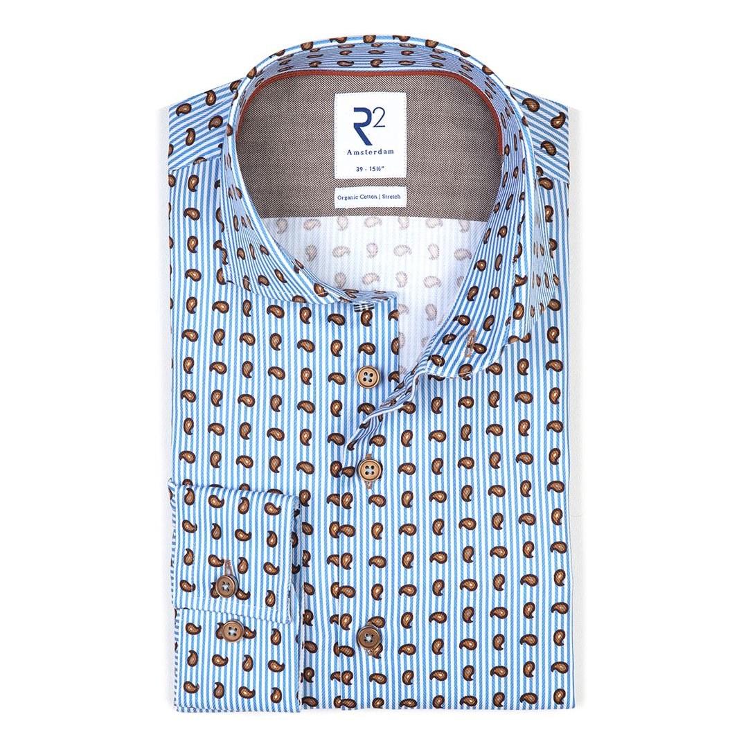 R2 Amsterdam Freizeit Hemd Modern Fit Langarmhemd 114.WSP.052 018 bleu Paisley