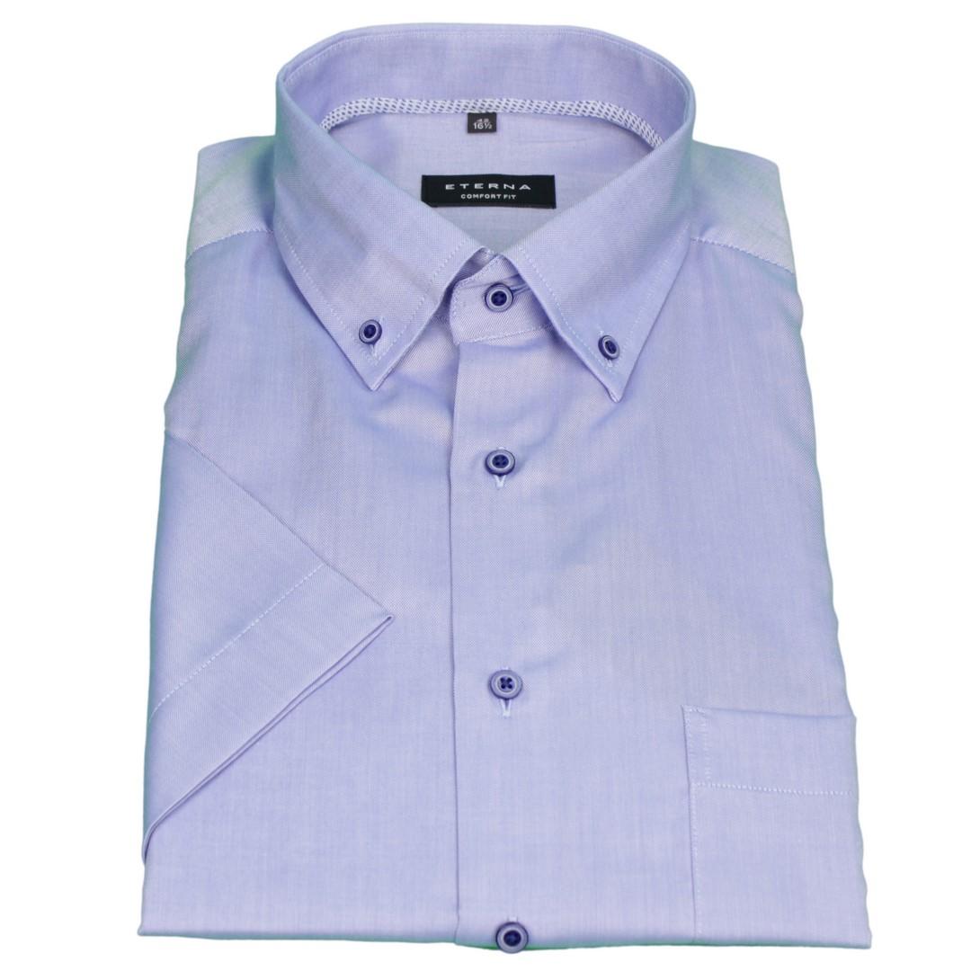 Eterna Halb Arm Kurzarm Hemd Comfort Fit blau unifarben 8932 K19L 12