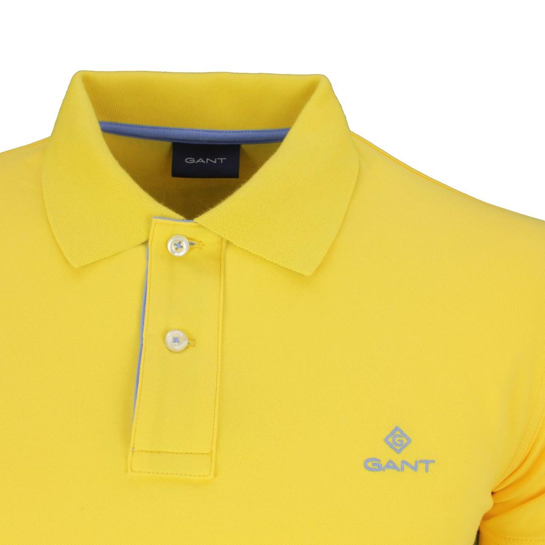 Gant Polo Shirt Contrast Collar Pique SS Rugger gelb 2052003 728 Solar Power Yellow
