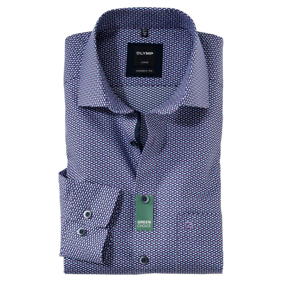 Olymp Luxor Hemd Extra langer Arm Businesshemd Modern fit Green Choice 127084 94 violett