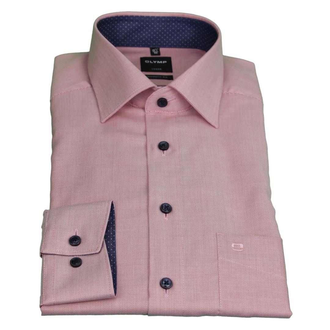 Olymp Herren Luxor Modern Fit Hemd rot unifarben 1268 54 35