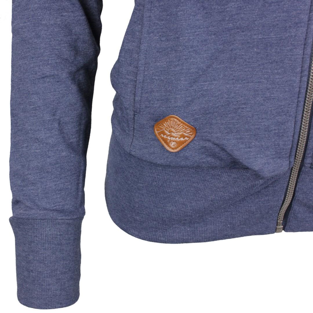 Ragwear Damen Sweat Jacke blau unifarben Paya 2111 30038 2050 Indigo