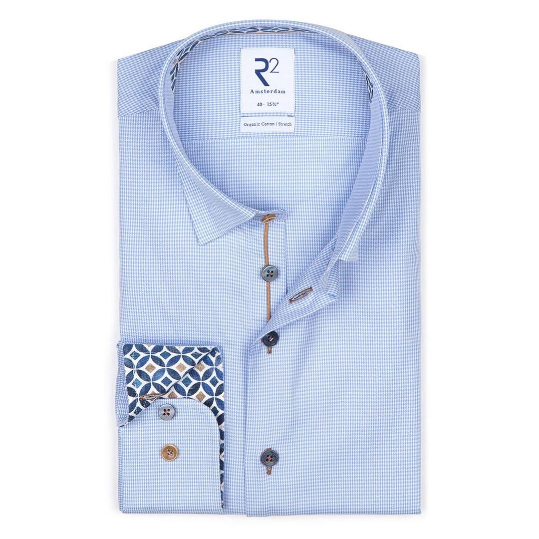 R2 Amsterdam Herren Hemd Hidden blau kariert 112.HBD.046 018
