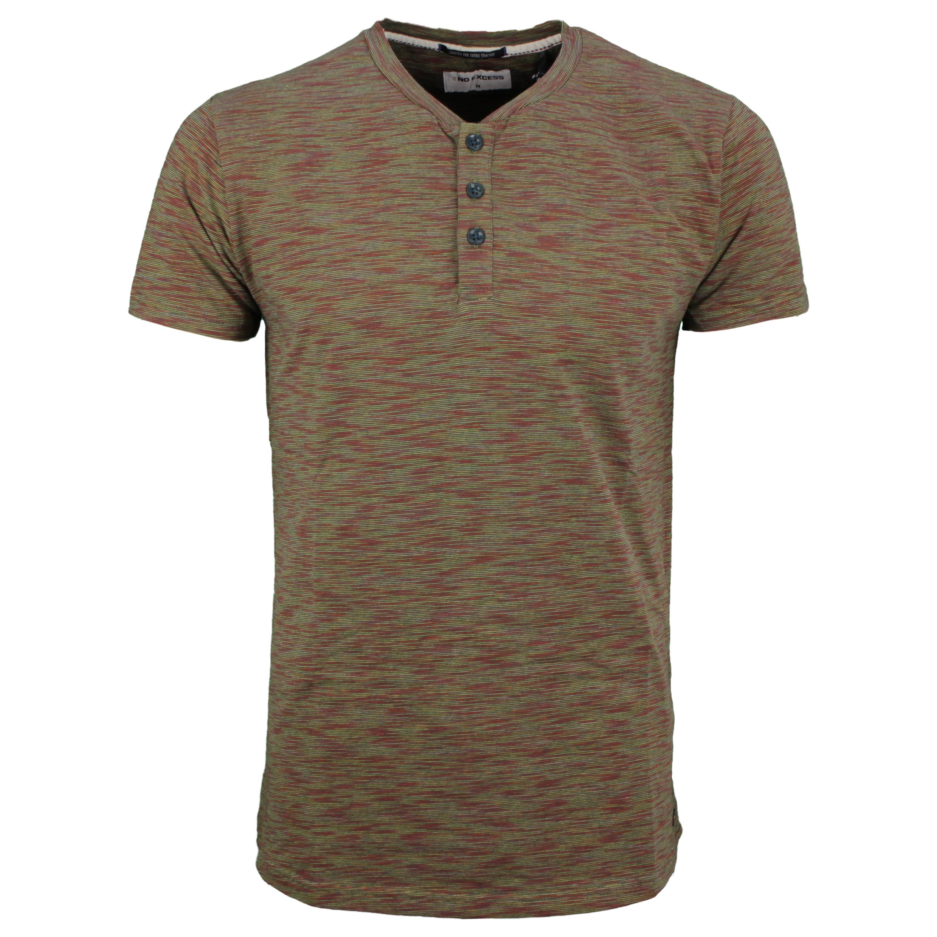 No Excess Herren T- Shirt Shirt kurzarm Knopfleiste mehrfarbig meliert 96350414 052