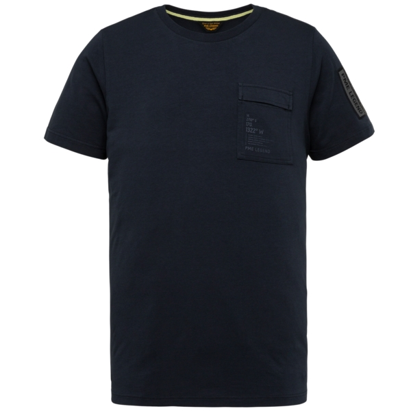 PME Legend T- Shirt Cotton Elastan Jersey blau PTSS214554 5073