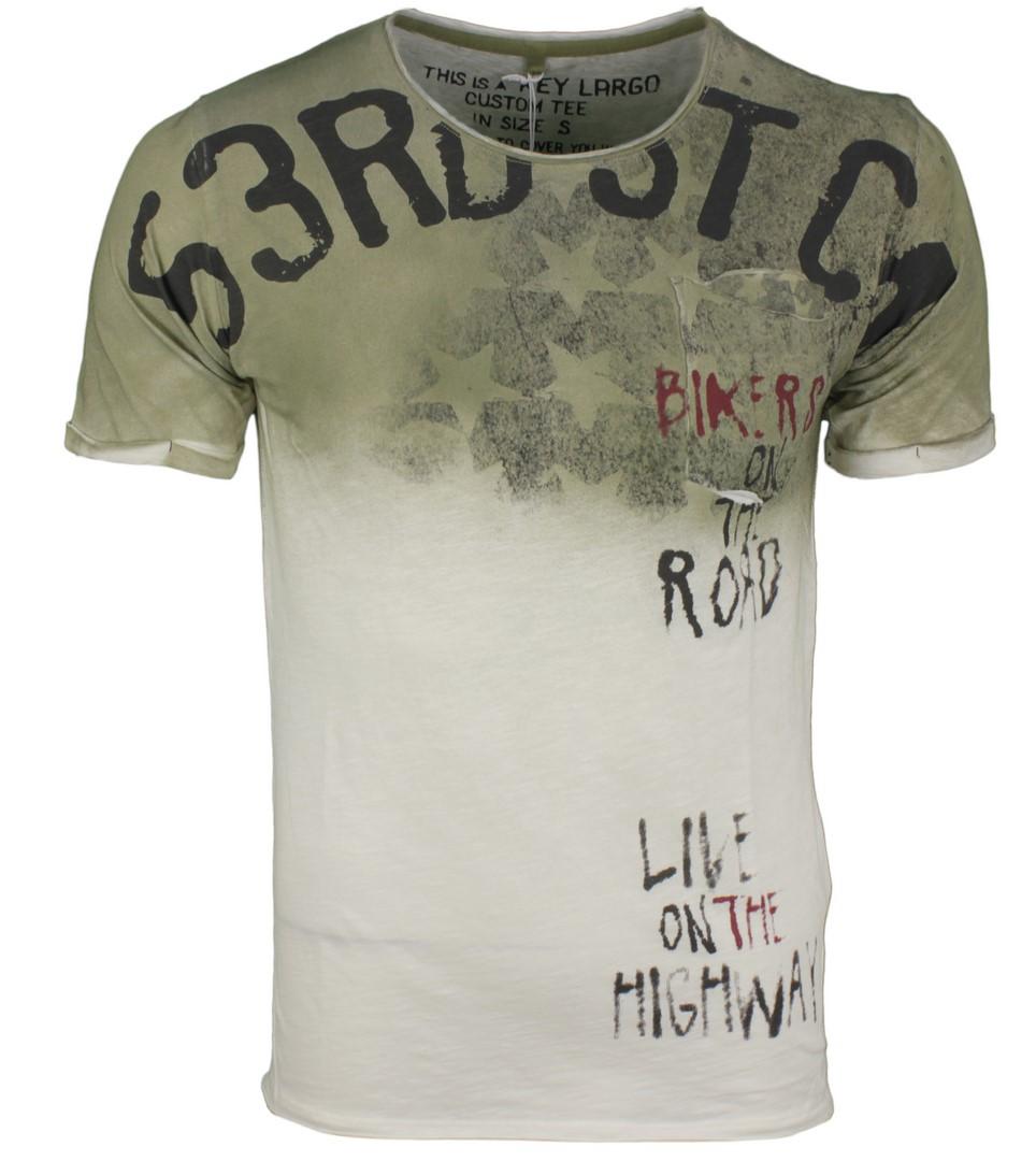 Key Largo Herren T-Shirt Druck grün MT ROAD round 1505 khaki