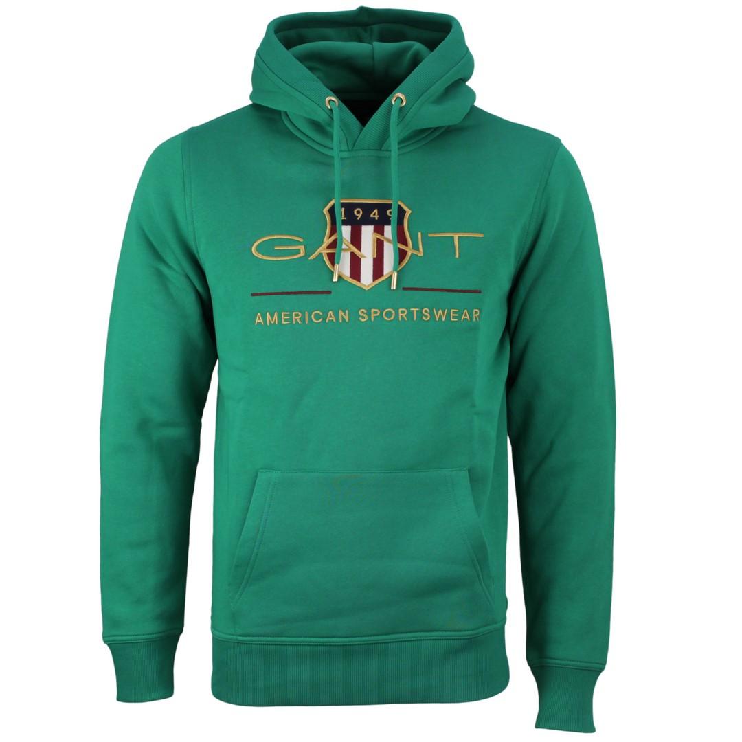 Gant Archive Shield Hoodie Kapuzen Sweat Pullover grün 2047056 336 Lush Green