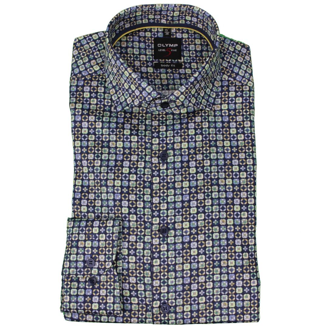 Olymp Herren Body Fit Hemd Level 5 mehrfarbig gemustert 210074 51
