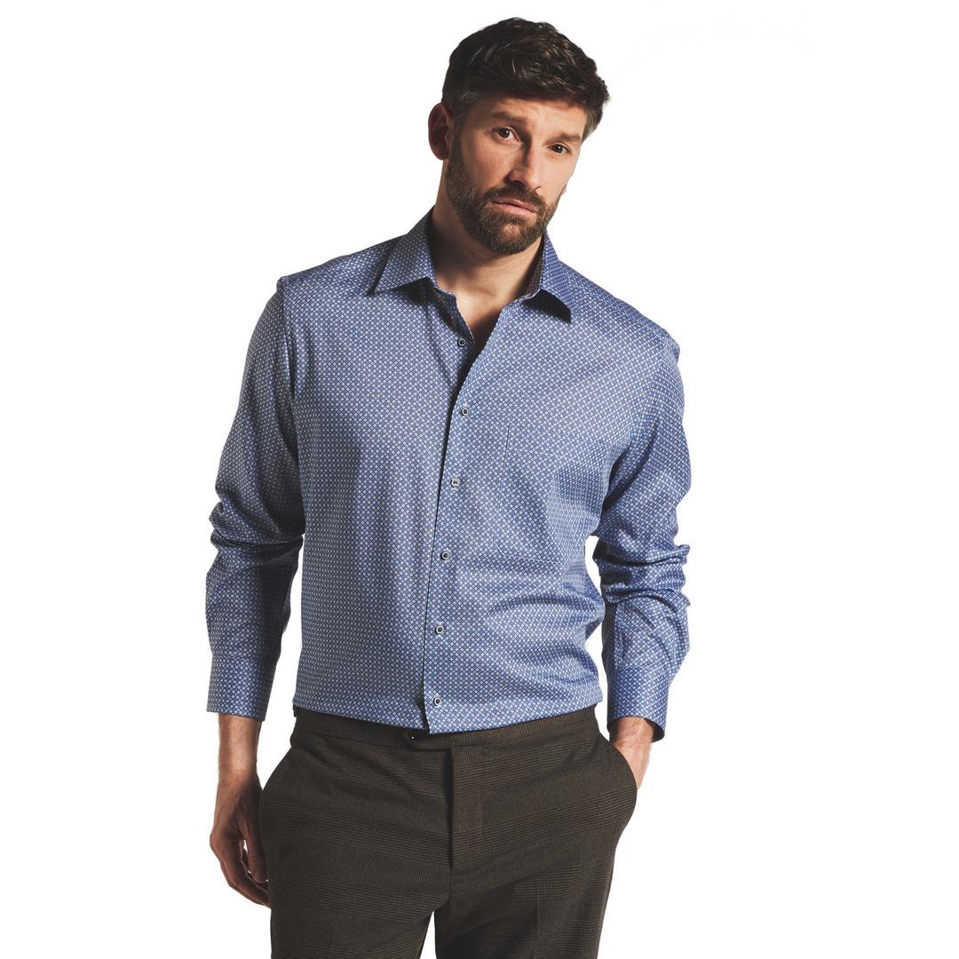 Eterna Comfort Hemd blau gemustert 3425 E18E 18